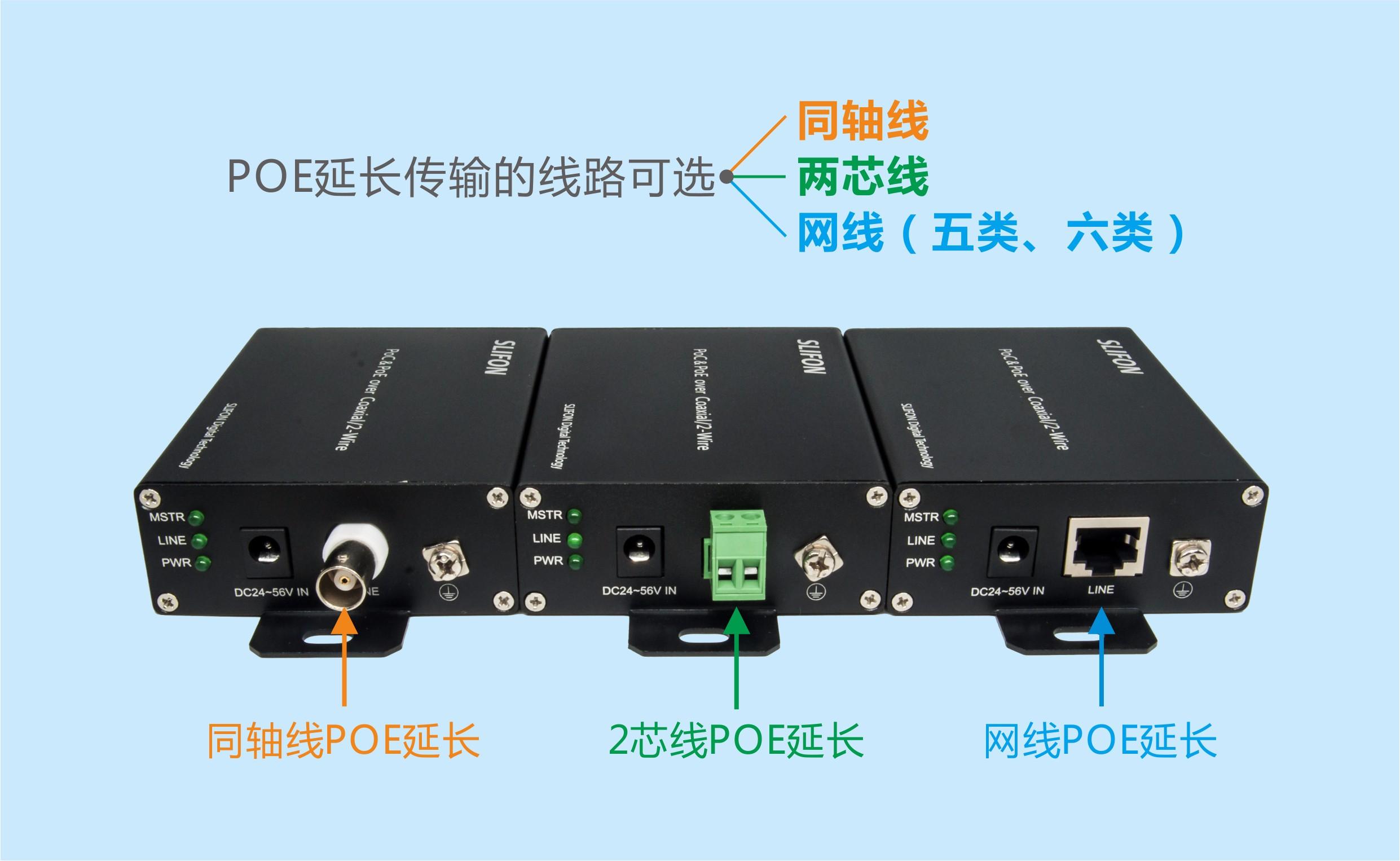 同轴线、2芯线、网线PoE延长器